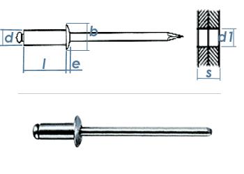 5 x 8mm Blindniete Alu/Stahl (10 Stk.)
